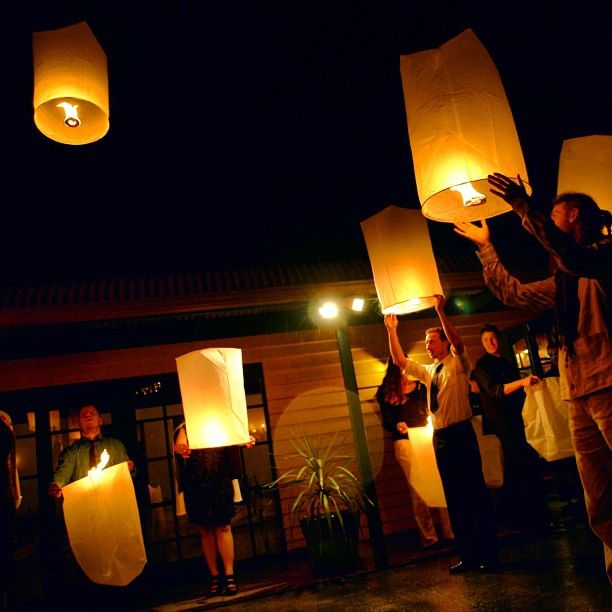 Chinese lantern lift-off :: Photo by Nathania Springs Receptions :: Dandenong Ranges, Victoria, Australia