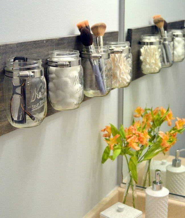 kreative wohnideen einweckglaeser badezimmer schminke regal
