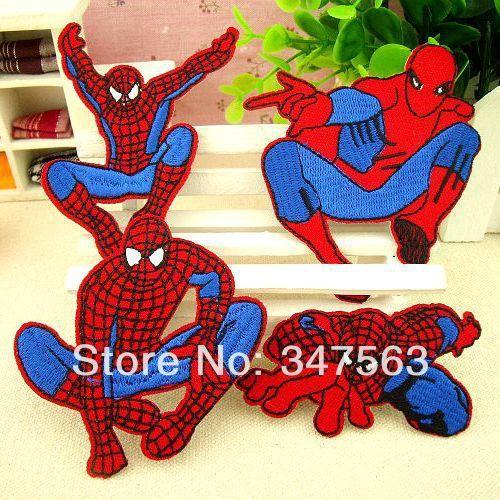 Spiderman Crianças adesivos bordado vestido denim calças pode passar do Homem-Aranha dos desenhos animados de pano patch adesivos afixados ferro no remendo(China (Mainland))