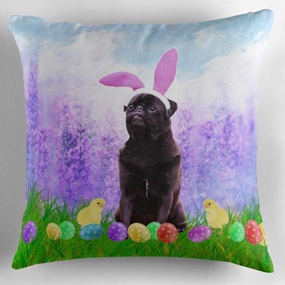 Black #pug  Easter Bunny Ears Easter Egg #pillows #dog #animal #blackpug