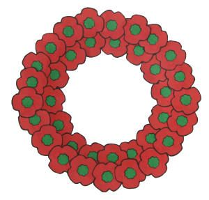 Poppy wreath for Memorial Day...link to printable template.