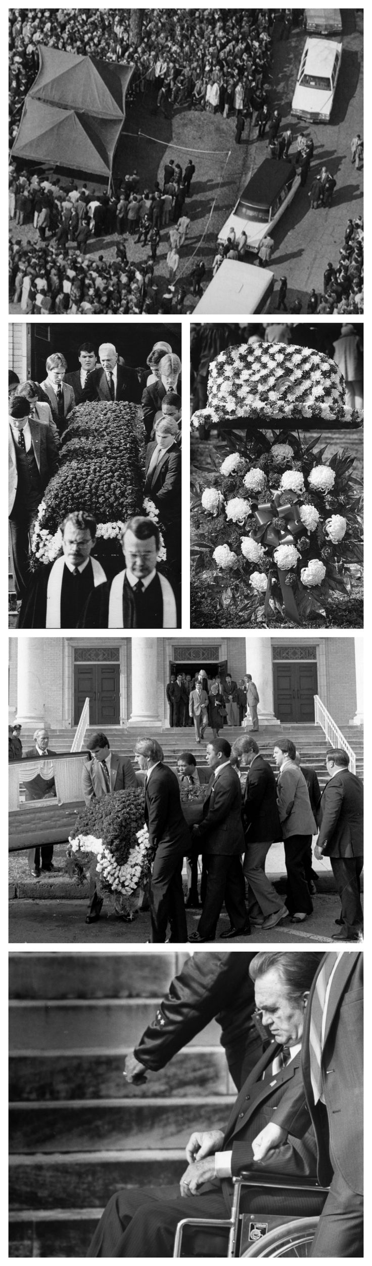 "Legendary Alabama football Coach #Paul ""Bear"" #Bryant died on January 26, 1983. We found some vintage photos of his funeral, which included guests such as George Wallace, and Pat Dye, among others."