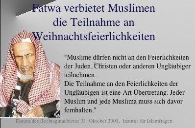 Fatwa verbietet Muslimen die Teilnahme an Weihnachtsfeierlichkeiten und anderen religiös geprägten Feierlichkeiten Andersgäubiger