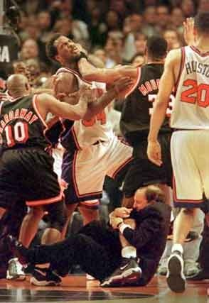 NBA playoffs start today! Never forget the classic Knicks vs. Heat series. Jeff Van Gundy hanging off Alonzo Mourning's leg... THUG