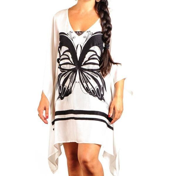 Black and White Butterfly Silk Kaftan