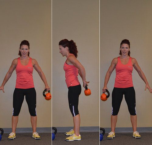 Stand with feet hip-distance apart and arms extended slightly out to your side. Hold a kettlebell in your left hand at one corner of the horn. In a fluid motion, swing it behind you and reach your right hand back to grab it on the other side of the horn. Keep the motion fluid as you swing it to the front of you and grab it with your left hand. It should feel like you are making the kettlebell orbit your waist. Repeat 10 times, then reverse and repeat 10 times.  Source: Thinkstock