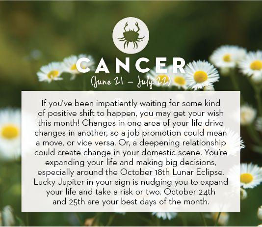 #Cancer October #horoscope 2013