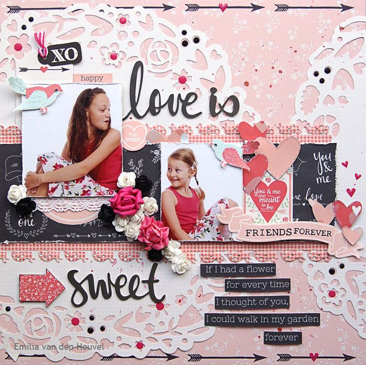 """<p>Hello everybody! Emmy here with another project filled with the wonderful sweet romantic shapes and saying from theKaisercraft """"XO"""" collection. For my background I used Ever After pattern paper and Wreath die-cut paper. Using theClear Stampsfrom the same collection with Black Ink, I stamped the arrow edge on the background <a href="""" http://www.merlyimpressions.co.uk/blog/project-portfolio/scrapbooking/love-is-sweet-with-xo/ """"> …click to read more</a></p>"""