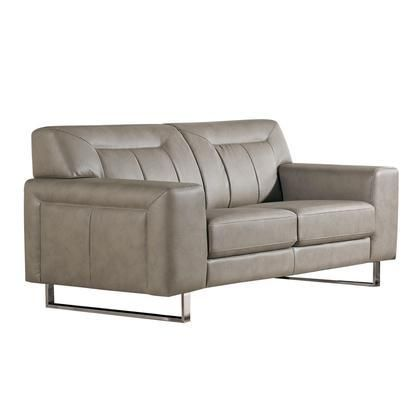 "Vera VERALOSS 68"" Loveseat with Metal Legs Chrome Accents Attached Seat/Back Cushions and Leatherette Upholstery in Sandstone Color"