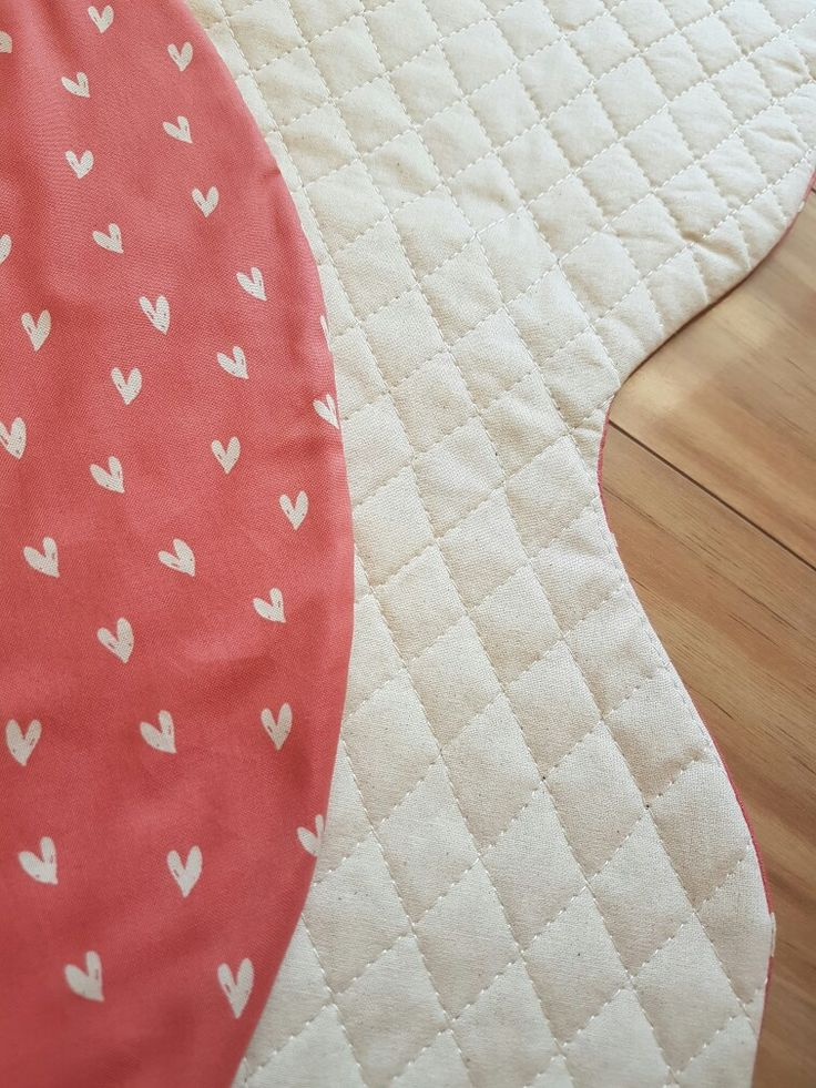 Unique x or kiss playmat. Heart fabric, perfect for a nursery or playroom. Little Swan Designs