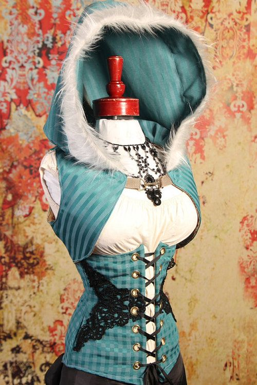 """Steampunk Hooded Corset Top GIMME ME GUSTA  (sidenote: If I had a """"geek"""" board, this would go there, but I have a Doctor Who board instead...)"""