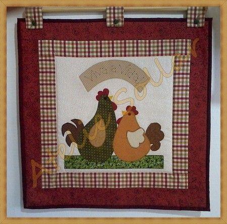 Panô em patchwork Tema galinha