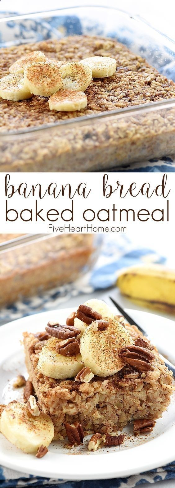 Banana Bread Baked Oatmeal ~ boasts the delicious flavor of banana bread, but it's made with wholesome oats, pecans, and coconut oil for a healthy, filling breakfast or brunch recipe! | FiveHeartHome.com #oatmealbreadrecipes