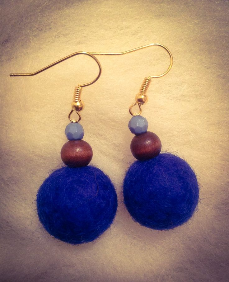 Blue wet felted ball earrings. Fun and easy to make.