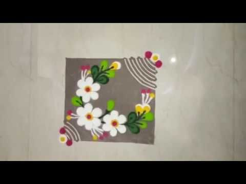 Very simple and small rangoli design by DEEPIKA PANT - YouTube