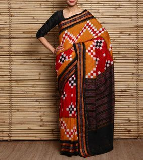 Yellow Sambalpuri Handloom Cotton Saree