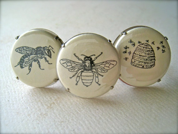 bees ring  flat button cab apiary beehive husbandry by FoamyWader, $10.00