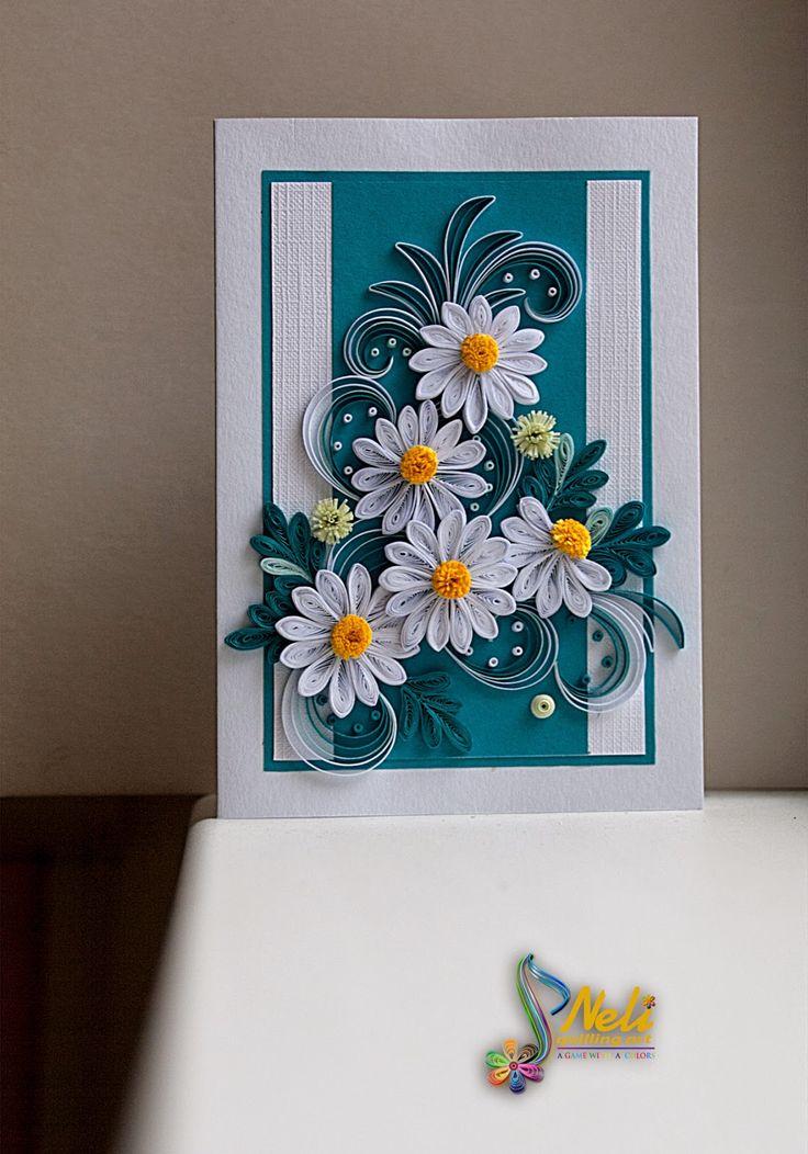Открытка квиллинг ромашки, открытка