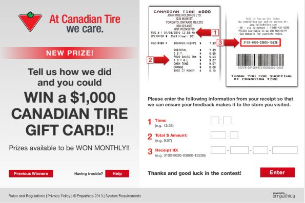 Canadian Tire Guest Satisfaction Survey WwwTellcdntireCom
