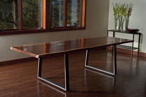 Live Edge Redwood Dining Table or Large Desk, Steel Trapezoid Legs, Custom, 'Incline' Project