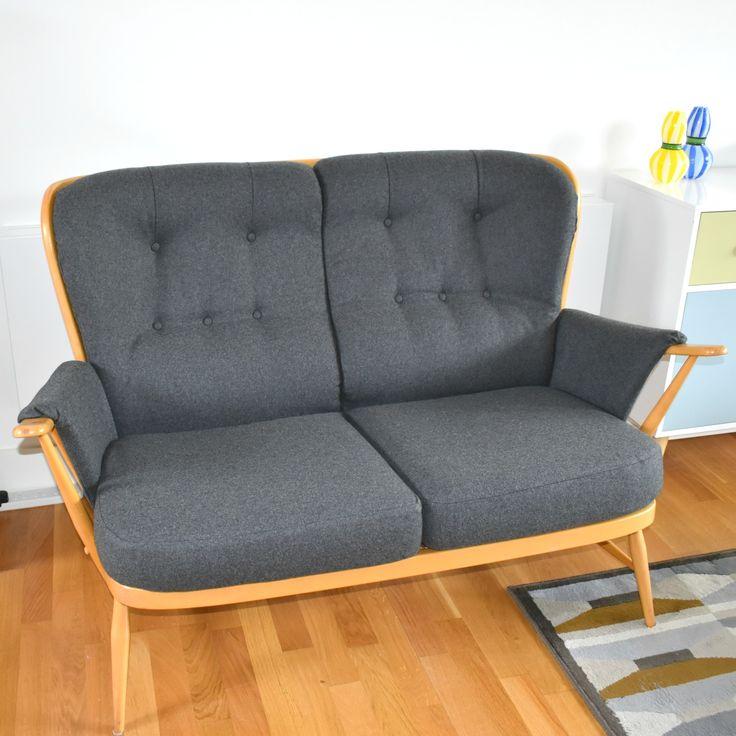 Ercol Sofa, reupholstered in Sanderson grey wool fabric