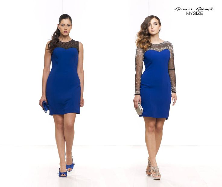 """#AutAut... #Tubino di #colore #Blu elettrico, la differenza è nella #scollatura... Il primo #abito giromanica ha una scollatura velata di colore nero e ricamo di pietre in tinta. Il secondo #abito invece velato dalla scollatura, prosegue sull'intera manica per un effetto """"nude-look"""" , con ricamo di perline a contrasto. Voi quale indossereste?"""
