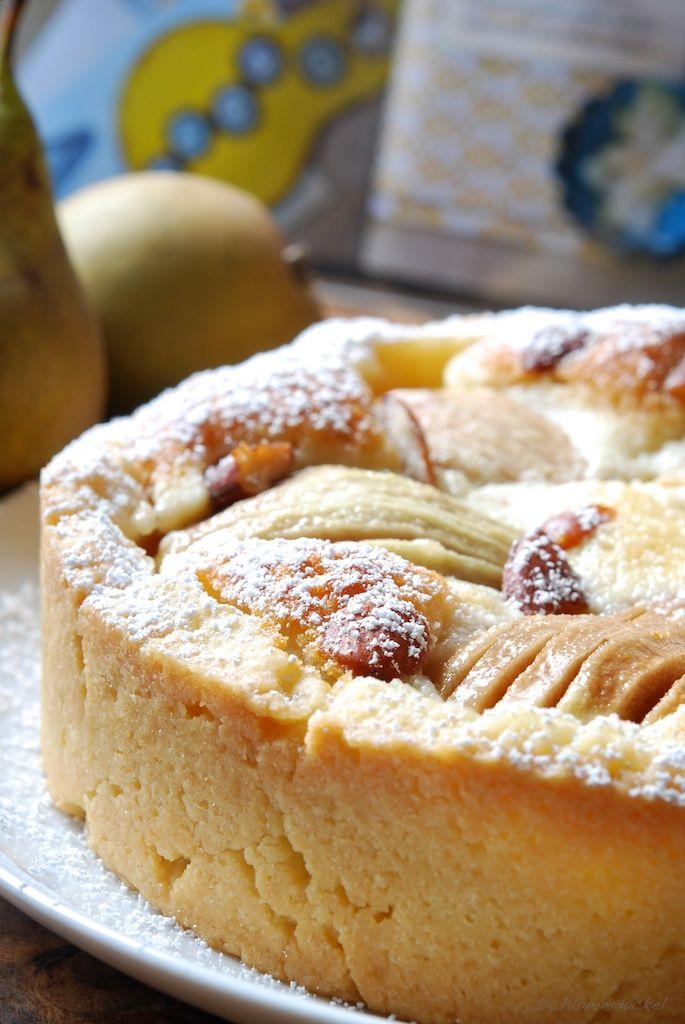 Versunkener Birnenkuchen mit Marzipan