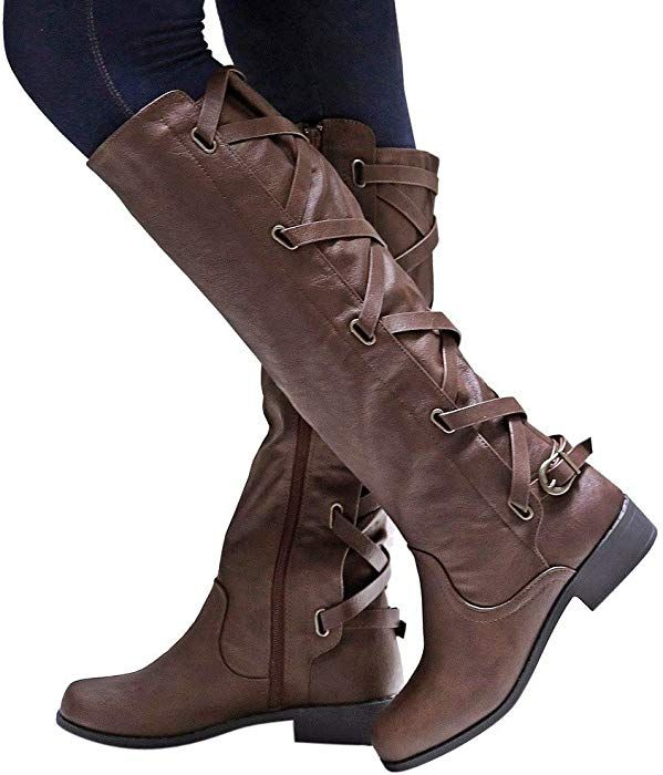 ff10cd7a842 Amazon.com: Gyoume Long Boots Women Knee High Cowboy Boots Lace Up ...