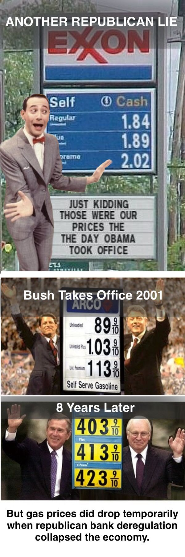 Highest recorded gas prices during Bush admin 2008. The lies and distortions just keep being generated by the Koch machine and idiot republicans keep believing them.