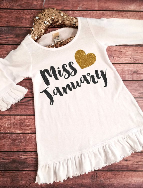 Miss January Birthday Girl Dress Gold Sparkle Birthday by SnowSew