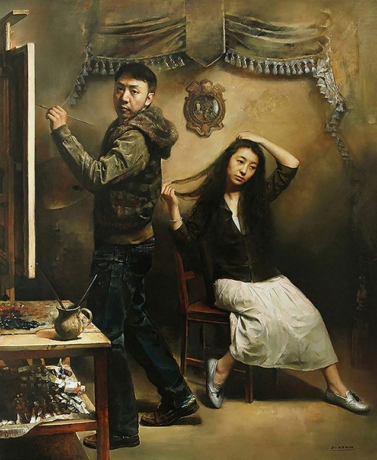 "Kexin Di. Self Portrait with wife. 67x55"" This Chinese painter is little known outside of China. He has painted in a variety of styles."