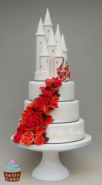 why red it should stay all white..Autumn Castle Wedding Cake by www.jellycake.co.uk, via Flickr