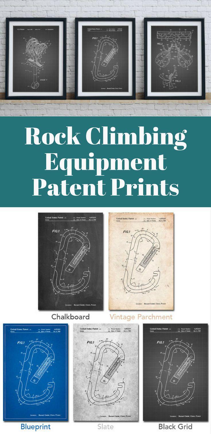 Rock Climbing Equipment Patent Prints | Outdoors Prints | Rock Climbing | Wall Art | Handmade | Home Decor | Gift Idea #ad