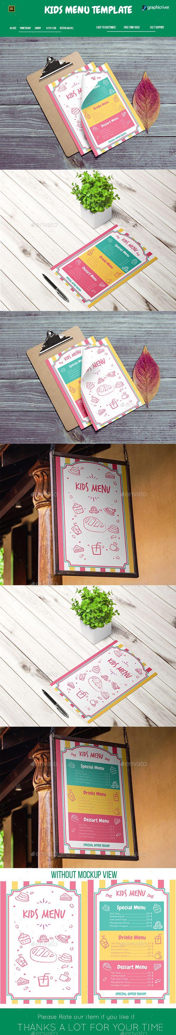 Kids Menu Template — Vector EPS #applebees #cupcakes • Download ➝ https://graphicriver.net/item/kids-menu-template/20121452?ref=pxcr
