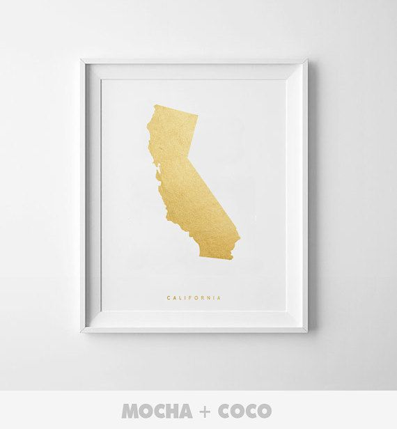 California Gold Map Print US State America Map by MochaAndCoco