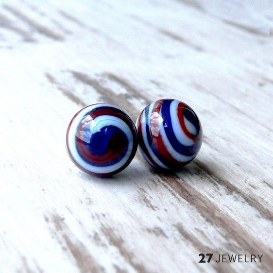 """Red and Blue """"Sailor"""" swirl - handmade lampwork glass earrings Handcrafted one of a kind stud earrings made from glass. Size: 10 mm"""