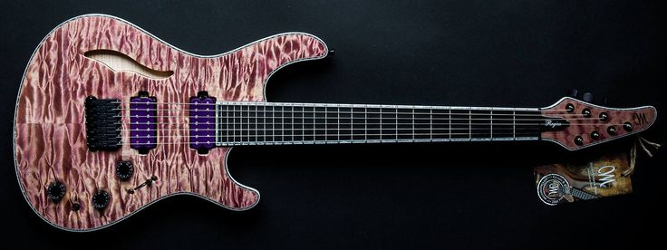 Mayones Guitars Basses Regius 7 Semi Hollow Jeans Violet MBC 2014! This instrument features Transparent Violet Jeans finish, 4A Quilted Maple Top, 4A flame maple back,11-ply Mahogany x Maple x Paduak x Wenge neck, Ebony Fretboard, Bare Knuckle Pickups VHII(neck)+ Rebel Yell(bridge), Schaller Hannes bridge, 2Volume (push-pull)x 1Tone x 1Mini-Killswitch