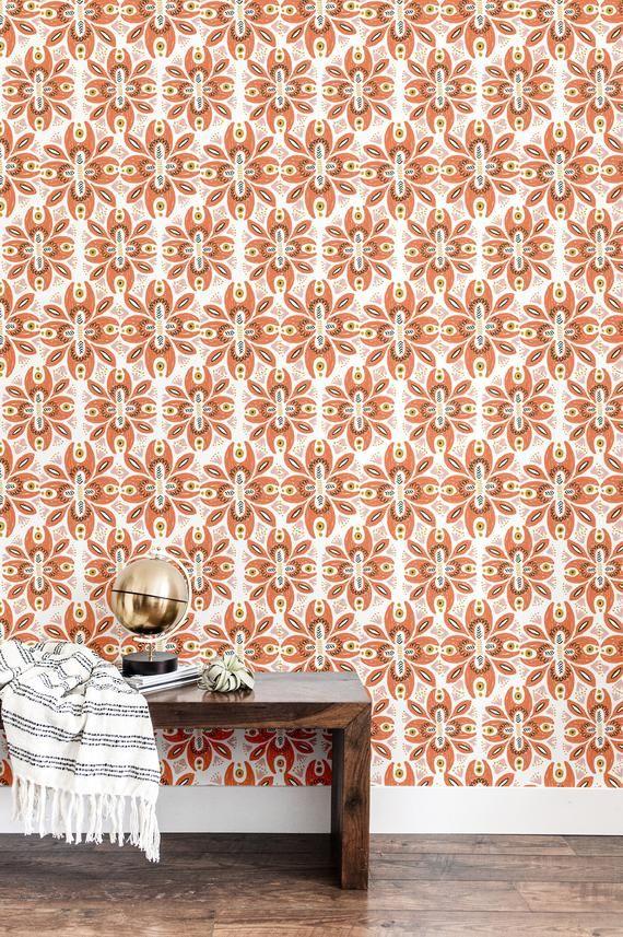 Boho Floral Wallpaper Self Adhesive Wallpaper Stick On Etsy Accent Wallpaper Stick On Wallpaper Self Adhesive Wallpaper