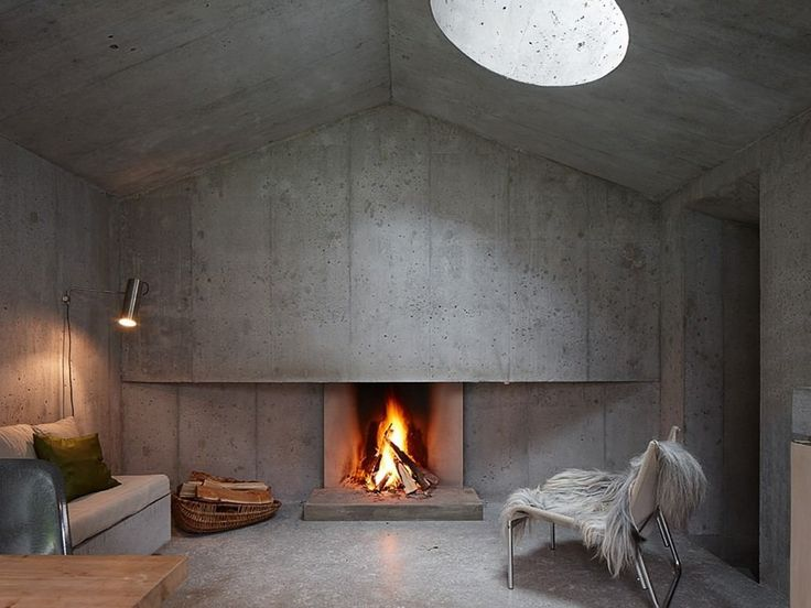 lareira em living de concreto
