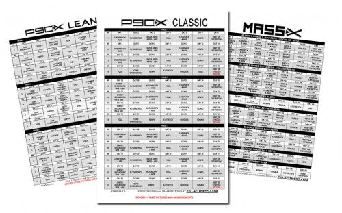 P90X Workout Schedules - Click the picture for printable PDF versions.