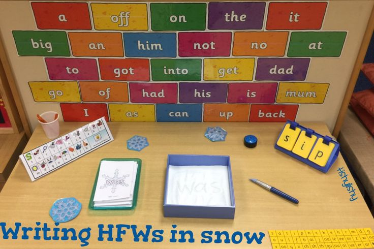 Writing high frequency words in the snow.
