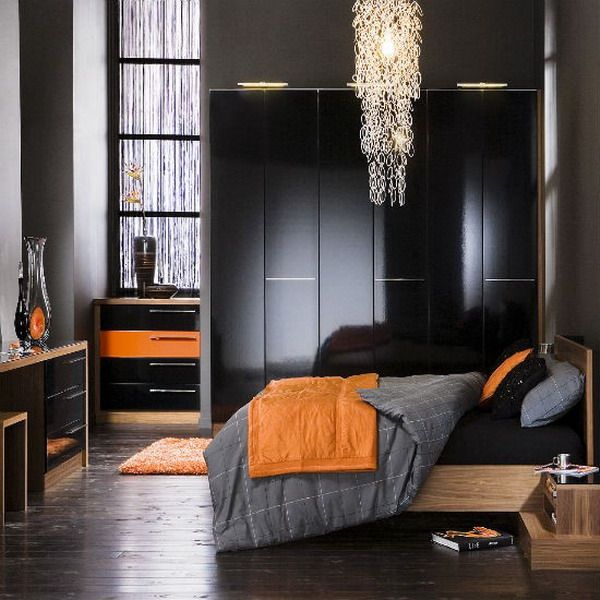 Modern Bedroom Black Gothic Bedroom Sets Room Colour Ideas Bedroom Bedroom Furniture For Men: My Son Really Likes The Gray/black/orange Combo.