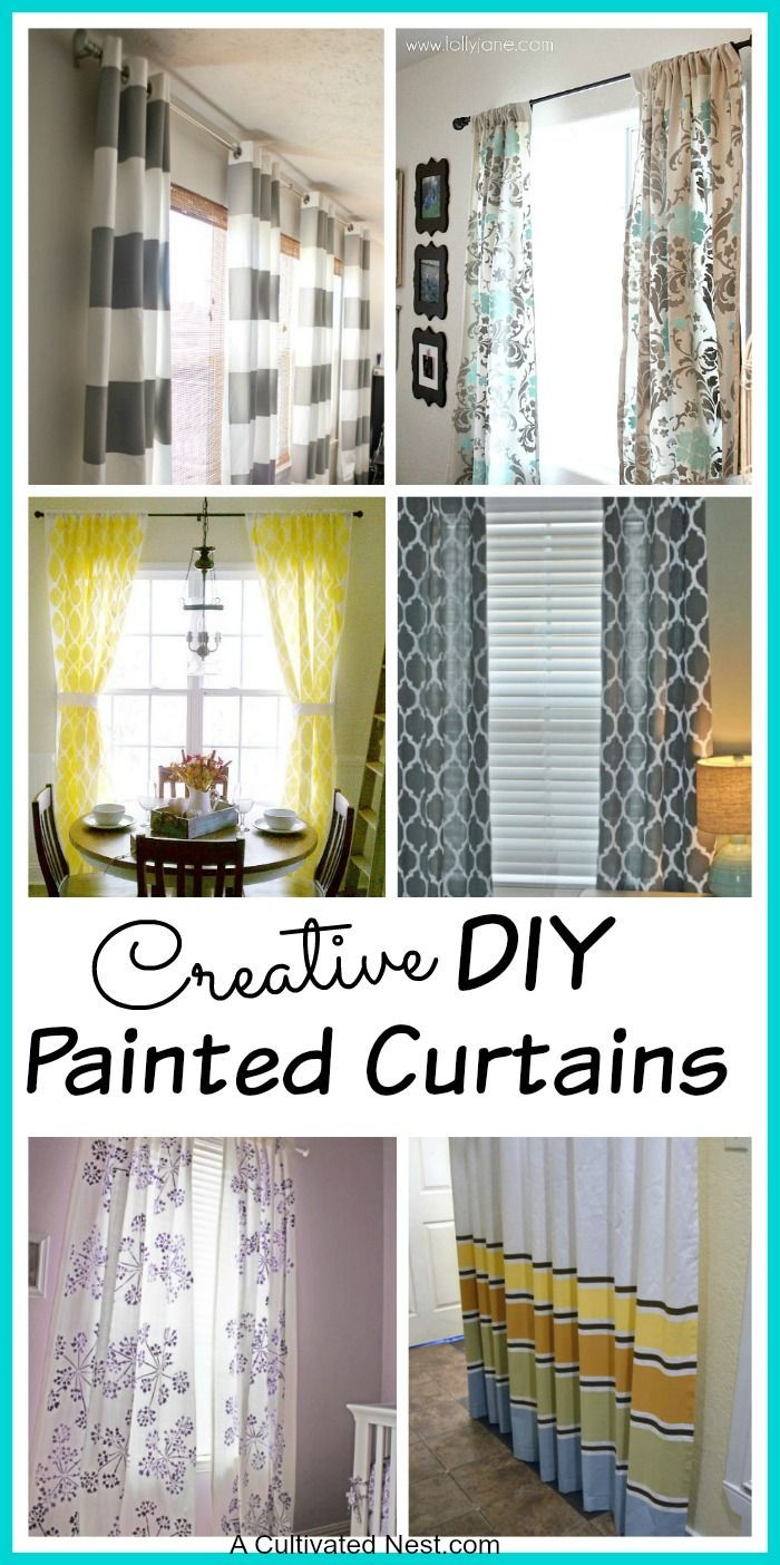 DIY Painted Curtain Ideas - What a great way to save some money and get an amazing look that you can tailor to your home!
