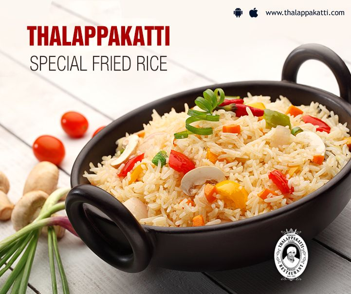 Savour the most delicious Special Fried Rice at THALAPPAKATTI RESTAURANT. Packed with coloured fresh veggies and burst of flavours, have a Tasty Tuesday.  http://www.thalappakatti.com/  #DindigulThalappakatti #Thalappkatti #ThalappakattiRestaurant #Food #Friedrice