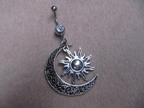 Moon Belly Button Ring Moon Sun Charm Dangle Navel By Kumanra2015 In