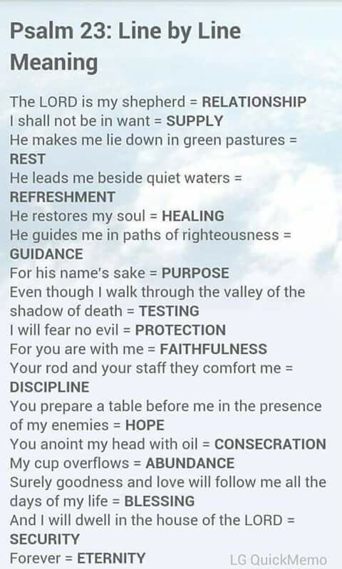 Psalm 23 - line by line