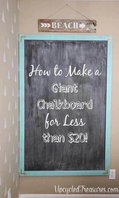 How to Make a Giant Chalkboard using DIY Chalkboard Paint. UpcycledTreasures.com #DIY #chalkboard