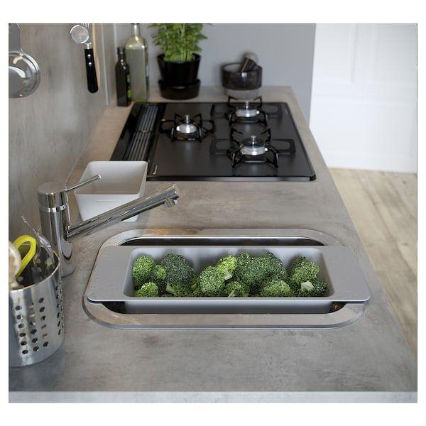 Ekbacken Plan De Travail Gris Clair Imitation Ciment Stratifie 186x2 8 Cm Keuken Aanrecht Kleine Keukens Laminaat