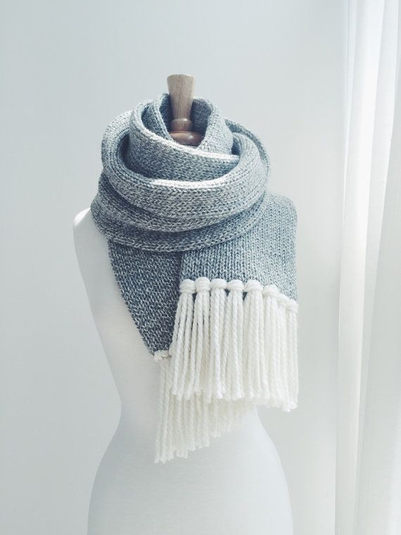 Knit Tassel Scarf - Light Gray Tweed  . Designed to wrap twice at 7 x 7 5 . Crafted with no wrong sides or edges . Double knit for warmth and