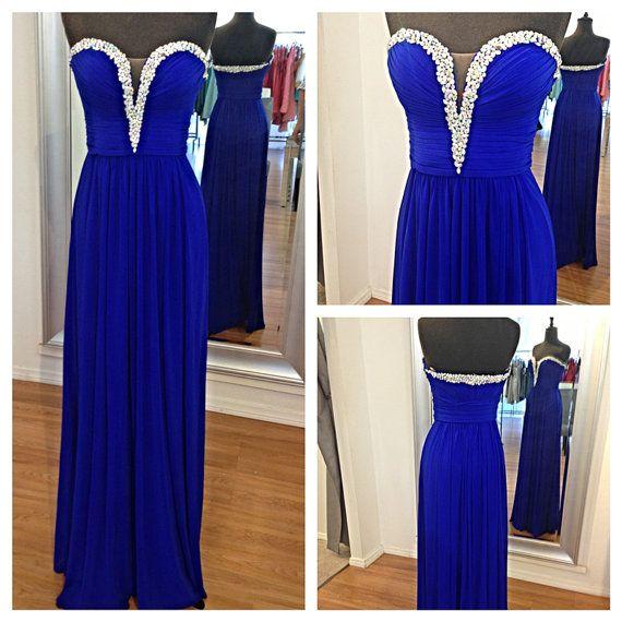 Long Real Blue V-neck Sweetheart Prom Dress Floor-length Cheap Bead Custom Prom Dresses Graduation Dress Formal Dress Homecoming Dress 2014